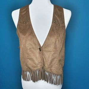 Brown fringe vest